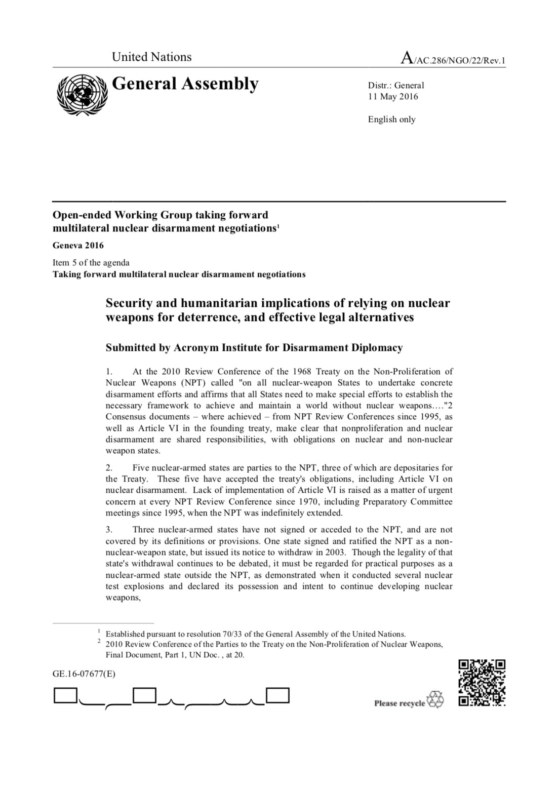 Security And Humanitarian Implications Cover