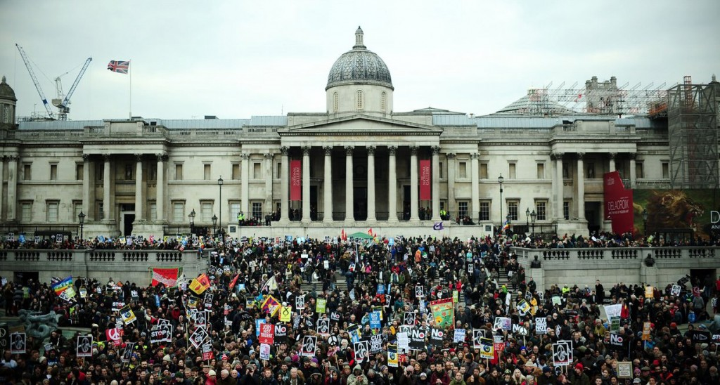 Protesters gather in Trafalgar Square. Photograph: Anthony Devlin/PA