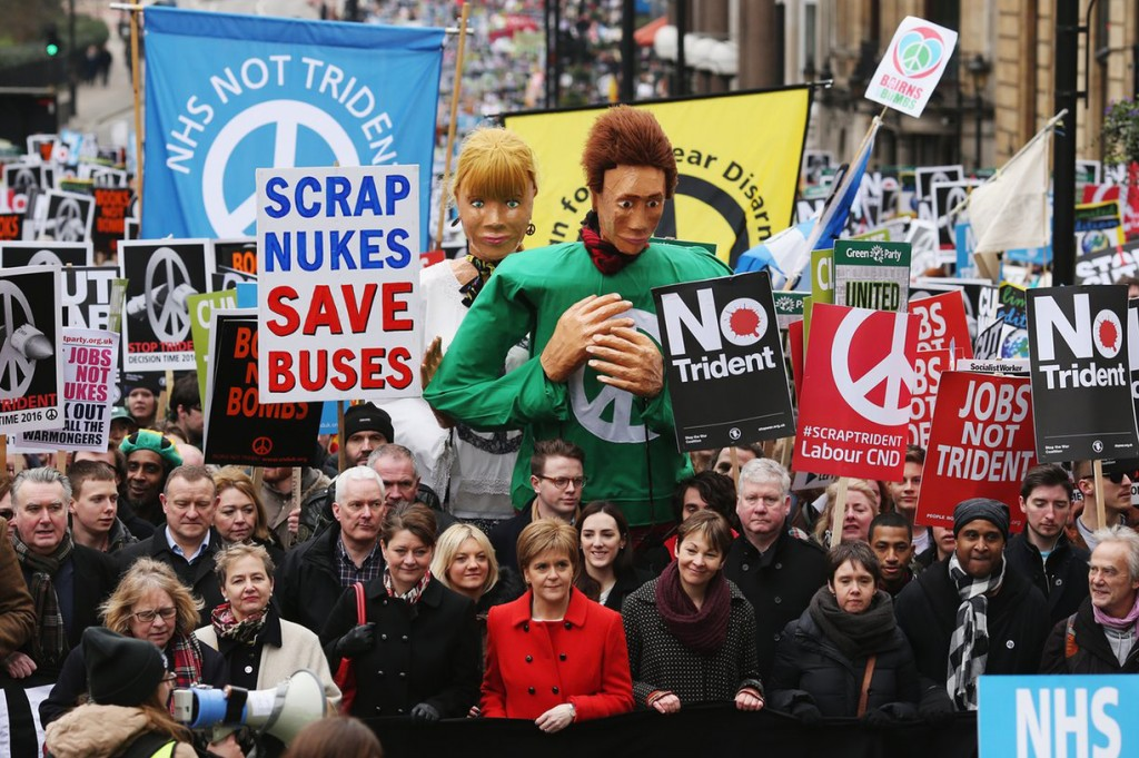 Leanne Wood, Nicola Sturgeon and Caroline Lucas join protesters on the anti-Trident march. Photograph: Dan Kitwood/Getty Images