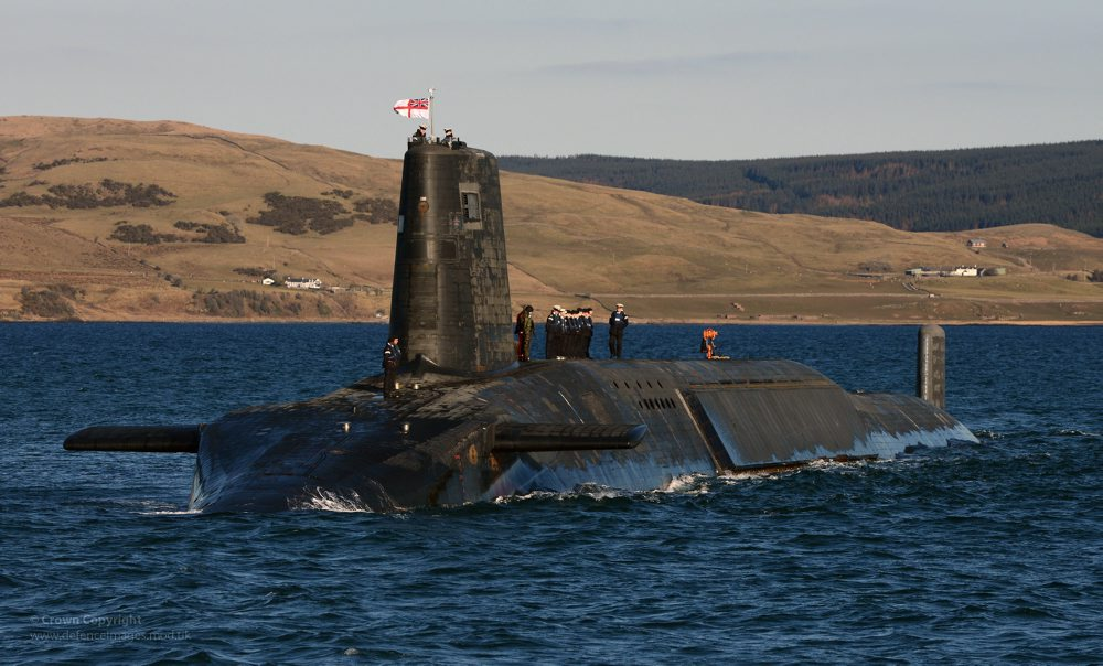 The Trident nuclear submarine HMS Victorious is pictured near Faslane in Scotland.  HMS Victorious was the second of the four ballistic missile submarines to emerge from the Devonshire Dock Hall in Barrow, where she was officially 'launched' on 29 September 1993. Based at Clyde Naval Base, HMS Victorious' is continuing the Royal Navy's proud record of over 40 years of uninterrupted nuclear deterrence, as at least one of the four 'bombers' is on patrol at any time. ------------------------------------------------------- © Crown Copyright 2013 Photographer: Sergeant Tom Robinson RLC Image 45155268.jpg from www.defenceimages.mod.uk    This image is available for high resolution download at  www.defenceimagery.mod.uk subject to the terms and conditions of the Open Government License at www.nationalarchives.gov.uk/doc/open-government-licence/. Search for image number 45155268.jpg  For latest news visit www.gov.uk/government/organisations/ministry-of-defence Follow us:  www.facebook.com/defenceimages www.twitter.com/defenceimages